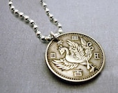 Phoenix Necklace - Vintage Silver Japanese 100 Yen COIN NECKLACE, phoenix, fire plumage, asian, mythology - rebirth - wedding - coin jewelry