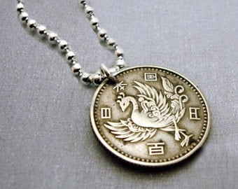 Phoenix Jewelry • Silver Japanese Phoenix COIN NECKLACE • Japan necklace • phoenix • fire bird • asian mythology • phoenix necklace