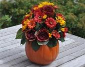 Wedding Flowers, Fall wedding centerpiece made of silk flowers in faux pumpkin
