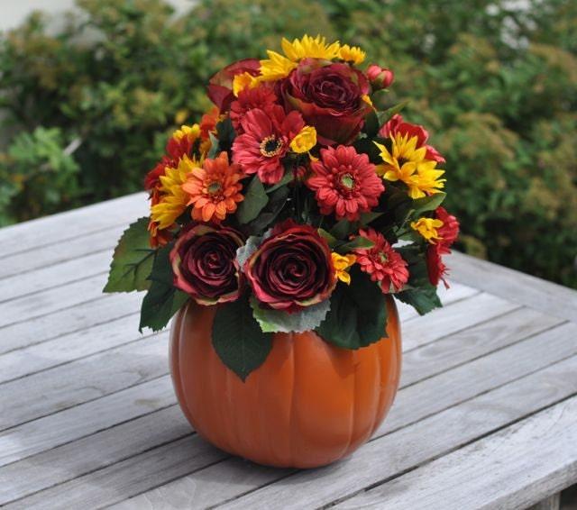 Silk Orange Fall Flowers: Wedding Flowers Fall Wedding Centerpiece Made Of Silk Flowers
