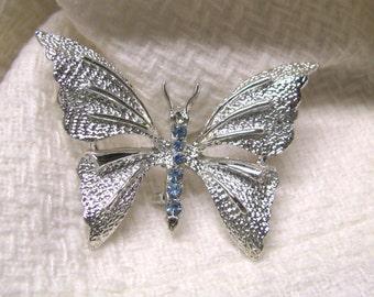 Vintage Silver Tone Blue Rhinestone Butterfly Brooch, Butterfly, Rhinestone Brooch, Rhinestone Butterfly