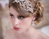 Art Deco Bridal Headpiece, Crystal Rose Gold Hair Clip, Silver Wedding Head piece, Rose Gold Bridal Hair Accessories, Crystal Comb, SALE