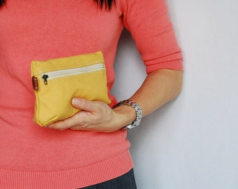 Big SALE 30% - Piggy Pouch in Mustard - Zipper Pocket / Purse / Wallet / clutch / cosmetic bag / iphone case / travel / Women