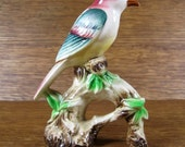 Wild Crested Bird on Branch Spots on Back Ceramic Figurine Multi-Color Dark Green and Maroon Vintage