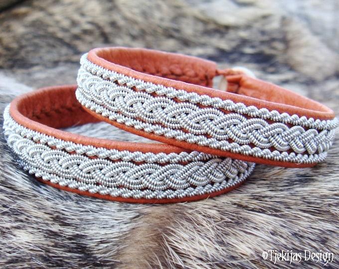 MJOLNIR Sami Bracelet. Handcrafted Viking Leather Cuff Bracelet in Cognac Bark Brown Reindeer Skin with Carved Antler Button