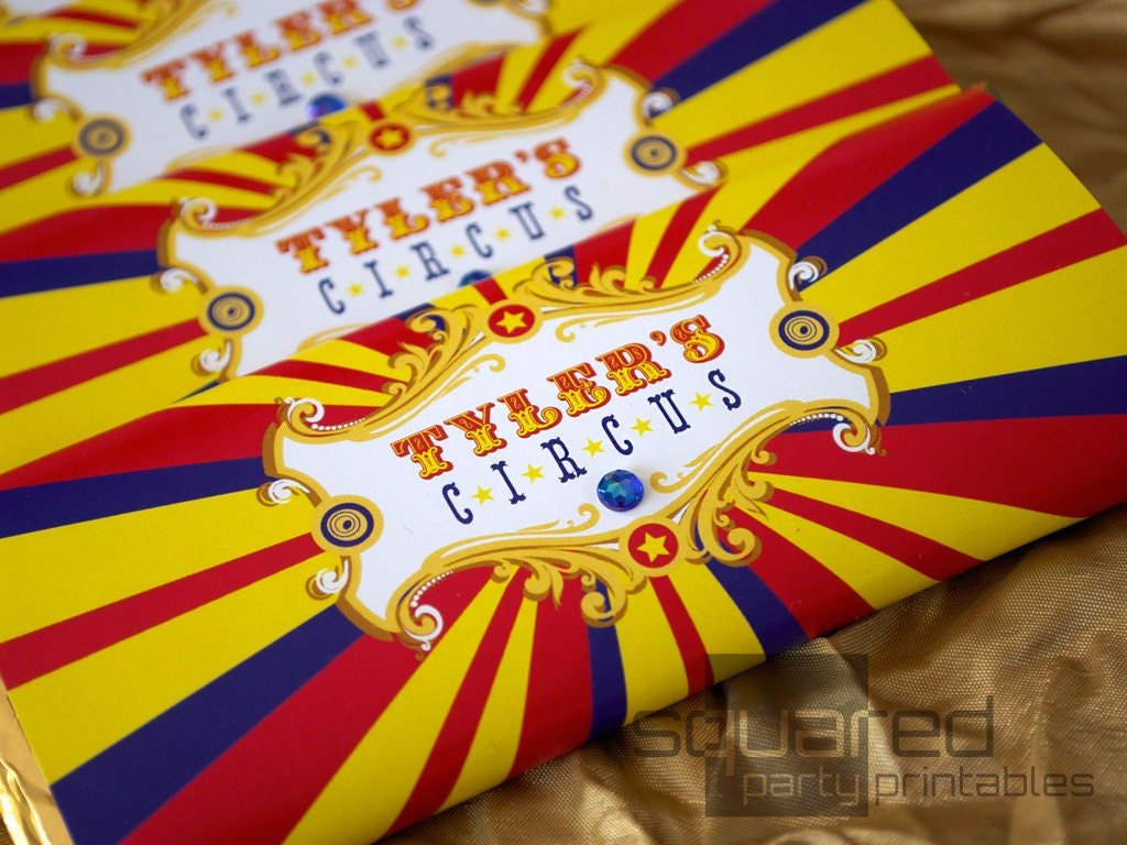 Vintage Circus Printable Birthday Chocolate Bar Wrappers