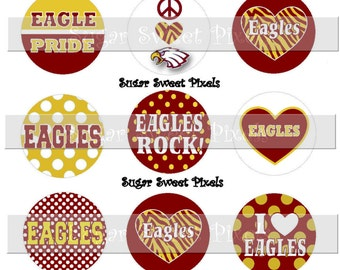 INSTANT DOWNLOAD EaglesMaroon gold School Mascot 1 inch Circle Bottlecap Images 4x6 sheet