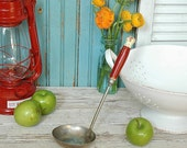 Vintage Red Wooden Metal Soup Ladle Kitchen Utensil Decor with White Tip