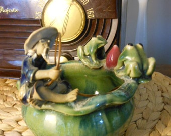 Antique Mud Man Rose Bowl with Frogs and Lotus Hong Kong 1930s