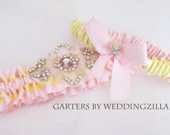Pink and Yellow Wedding Garter/Crystal Wedding Garter Set / Bridal Garter Set/  Pink Lemonade Garter/ Wedding Garter Belt