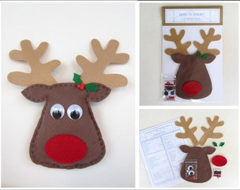 Holiday Learn to Sew Kit for Kids - Rudolph TheReindeer