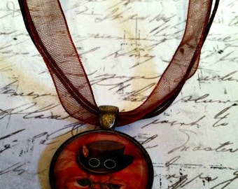Steampunk Kitty Cat Pendant Necklace On a Matching Brown Organza Ribbon