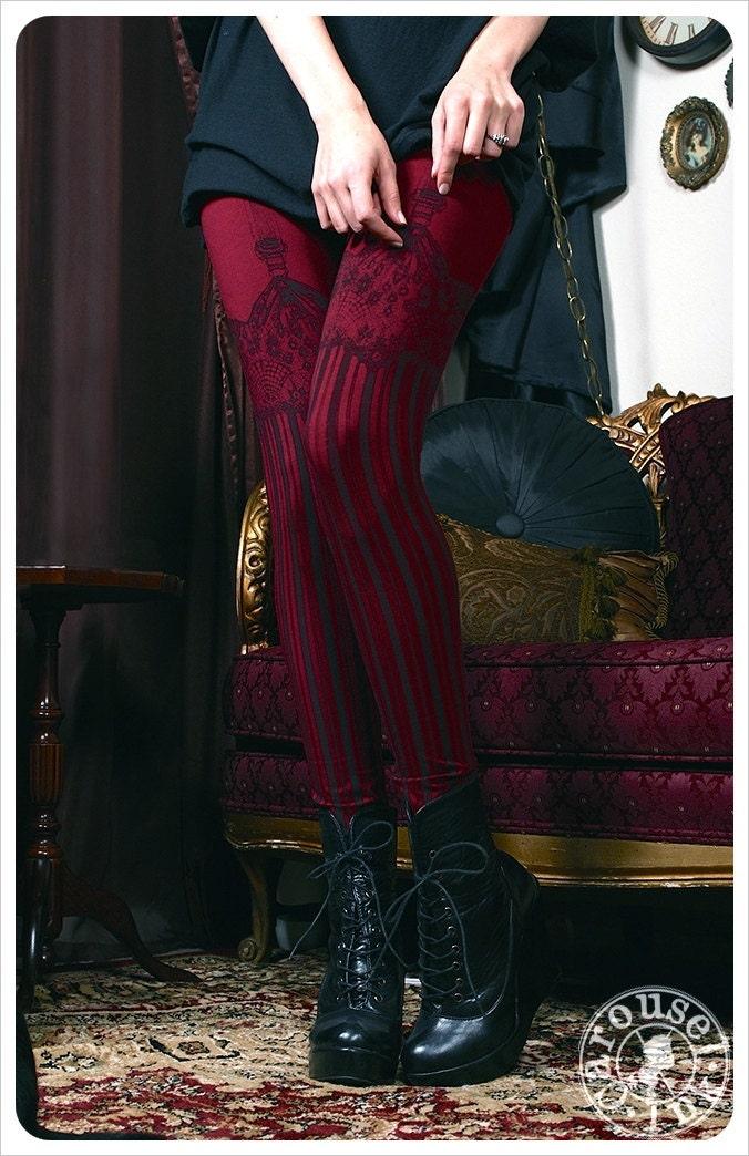 Burlesque Leggings - Womens Legging - BURGUNDY - Garter leggings - printed Tights - suspender tights - MEDIUM steampunk buy now online