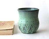 Beach House - Ceramic Kitchen Utensil Holder - Aqua Mist French Country Dinnerware - Hand Thrown Vase OOAK - Ready to Ship