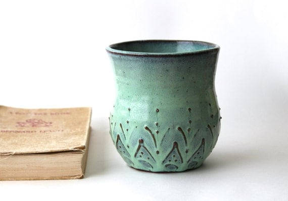 Beach House - Ceramic Kitchen Utensil Holder - Aqua Mist French Country Dinnerware - Hand Thrown Vase OOAK - Ready to Ship