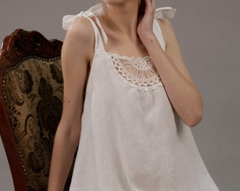 Linen Short Night Gown With Crochet Front Detail