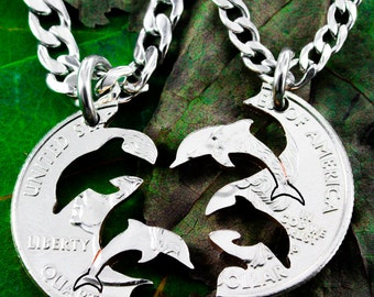 Interlocking Dolphins, couples necklaces, Relationship set, hand cut coin