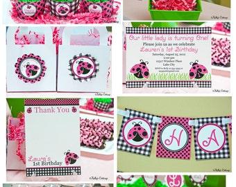 Ladybug Birthday Party Package...Custom, Printable DIY Package