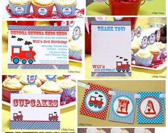 Vintage Train Birthday Party Package...Custom, Printable DIY Package