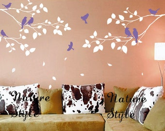 Tree and bird wall decals baby girl Nursery wall sticker Branch vinyl wall decal wall decals birds--Three Branches with Flying Birds