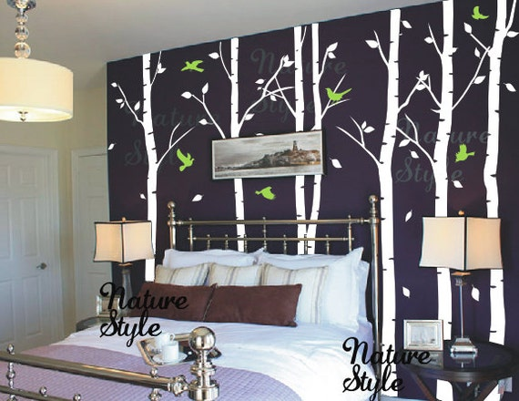 Birch trees wall decal kids nursery wall decal living room wall decal bedroom vinyl decal wall sticker-6 Birch Tree with Flying Birds and