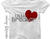 Iron on Heart Breaker Shirt - Boys Iron on Transfer / Boys Valentine Outfit / Toddler Heart Clothes / Baby Red and Grey Valentines Day IT339