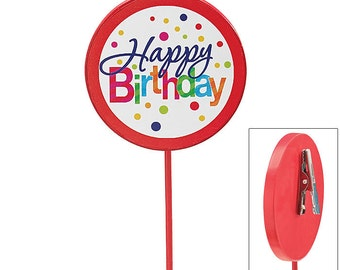 "HAPPY BIRTHDAY Polka Dots 12"" Floral Wooden PICKS Florist Card Holder Stakes (Free Shipping!)"