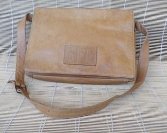 Vintage Beige Tan Leather Bag Purse With Shoulder Strap GFF
