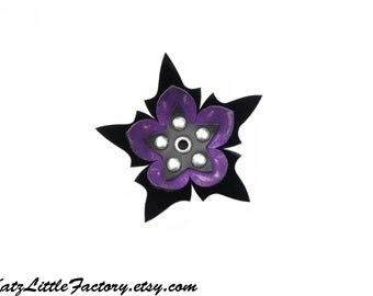 Medium Spiky Purple and Black Cyber Flower PVC Hair Clip Silver Studs
