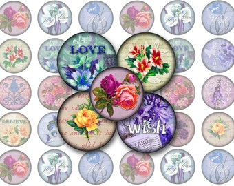 Vintage Flowers Printable 1-Inch Circles / Bottlecap Images / Inspirational Words (love peace wisdom joy faith hope) / Instant Download