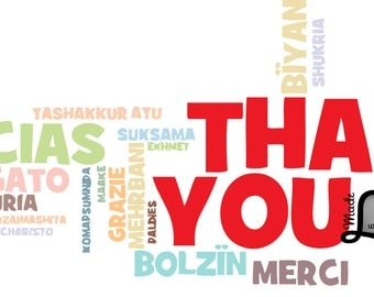 Thank You Multi Lingual Typography Vector Clipart Instant Download