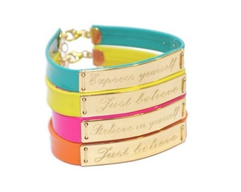 Personalized Leather bracelet - Color leather bracelet- motivational yellow turquoise Pink Leather Bracelet - Women leather Bracelets
