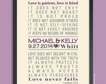 Love is Patient, 1 Corinthians 13, Gift for Husband Gift for Wife Personalized Wedding Gift Wall Art Anniversary Gift Shower Gift