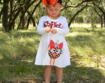 Wild Turkey Dress, Personalized Dress with Turkey Appliqué, Long Sleeved, 3-6m to 8yrs