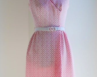Vintage 70s Carnation Pink Scooter Dress *Free US Shipping*