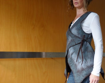 Grey vest, nuno-felted, size XS/S , natural designer clothing, eco friendly clothing, funky women's clothing, urban hippie