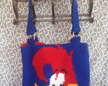 Woody Woodpecker Tapestry Crochet Tote Bag/ Ready to Ship/ One of a Kind