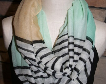Striped Infinity Scarf Mint-Tan Color Block Stripe Infinity Scarf Circle Loop Scarf Chunky Scarf-Spring Scarf-Accessories