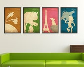 Pixar Minimalist Vintage Poster Set A - Monsters Inc, Toy Story, Wall-E, and Ratatouille Movie Print