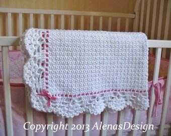 Crochet Pattern 084 - Crochet Baby Blanket Lace Edging Pink Blue Ribbon White Blanket Baby Boy Girl Bear Blanket Afghan Baby Shower Gift