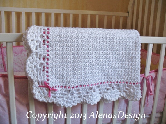 Crochet Baby Blanket With Ribbon Edging Pattern Dancox For