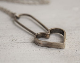 Sterling Silver Heart Pendant - Metalwork Necklace - Ethical Silver - Custom Made - Metalwork