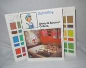 Vintage 70s Dutch Boy paint sample brochure / 1970s home decor reference / mod space age advertising / wall color chip book pamphlet