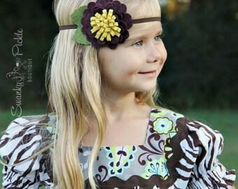Fall Headband - Wool Felt Flower Headband - Autumn Headband - Plum Wine Headband - Baby - Toddler Girls Headband - Adult Headband