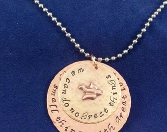 Mother Teresa saying handstamped on mixed metals with a dove accent