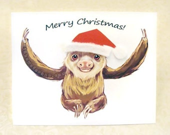 Merry Christmas Card, Sloth Art, Personalized Message, Happy Holidays, Blank Greeting Card, Custom Name, Christmas Hat, Cute Animal