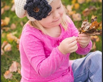 Crochet Slouchy hat, slouchy toddler hat, teen crochet slouchy hat, slouchy adult hat, Cream childs hat,custom crochet hat, hat with flower