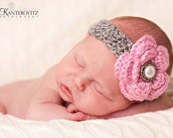 Gorgeous Baby Grey Headband with Pink Flower and Pearl/Silver Button - More Colors Available 0-12 months SHIPS FREE with any other item