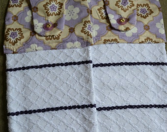 Hanging Kitchen Towel Set of 2 with Modern Cotton Prints on top -  Purple, Brown and White with Vintage Buttons