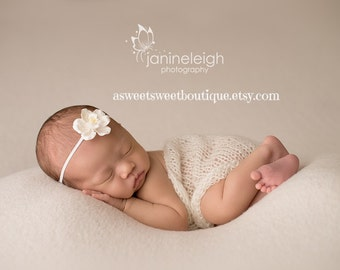 Simple Organic Baby Headband Newborn Headband Sweet Magnolia Headband Vintage Newborn Photo Prop